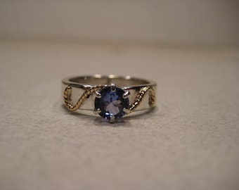 Beautiful Natural Tanzanite Ring ... Sterling Silver and 14 kt Yellow Gold ...  Size 5.5 ........  e 998