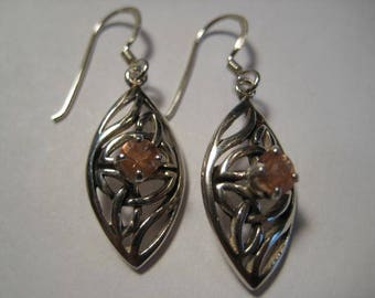 Natural Oregon Sunstone  Celtic   earrings ...... Sterling Silver ......        A34