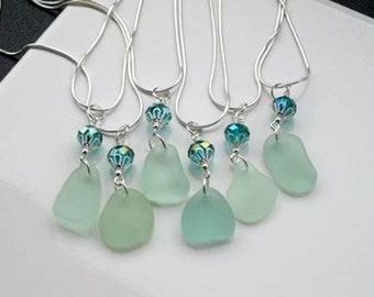 Wedding Jewelry Sea Glass Necklace Sea Glass Jewelry Beach Wedding Jewelry Sea Glass Wedding Jewelry Aqua Sea Glass Bridesmaid Gift