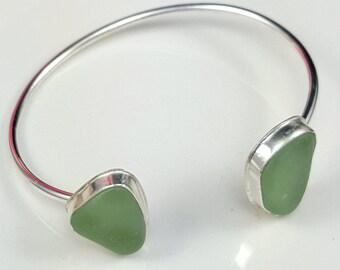 Cuff Bracelet Sea Glass Bracelet Sea Glass Jewelry Aqua Sea Glass Cuff Bracelet Aqua Sea Glass Bracelet Beach Glass Bracelet B-251