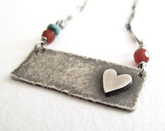 Love Letter necklace - rustic sterling silver jewelry for her - modern heart pendant