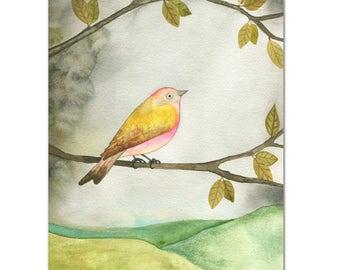 Pink Yellow Bird // archival print