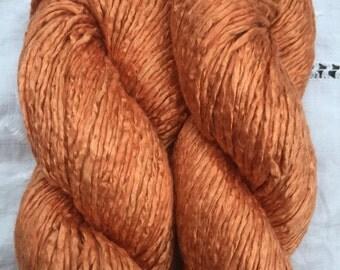 Hand Dyed Worsted weight Silk Yarn - Tawny Orange OOAK