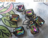 ON SALE 15% off Vitrail 10x8mm Glass Octagon Brass Ox Earring Drops 6 Pcs