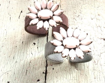 Adjustable Ultrasuede Cuffs with Milk Glass Blossoms
