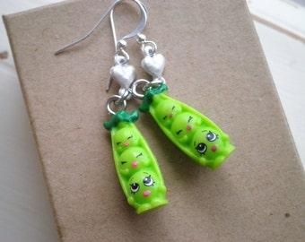 Sweet Pea Dangle Earrings - Mama Pea & Baby Peas In A Pod Kawaii Dangles - Shopkins Green Peas + White Heart Charm Jewelry Gift for Mom