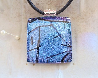 Purple Necklace, Blue, Black, Fused Dichroic Glass Pendant, Fused Glass Jewelry, Necklace Included, A1