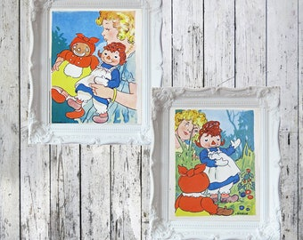 """2 Vintage Raggedy Ann and  Beloved Belindy  Plates/Prints Original Prints from 1940 Book 6 1/2"""" x 4 1/2"""""""