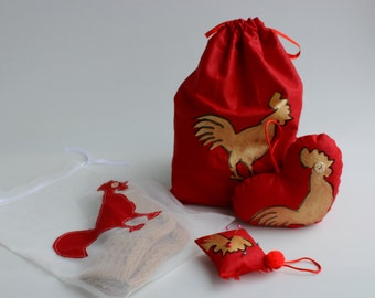 Gift set, 4 pieces-with 2017 symbol rooster-ready to ship