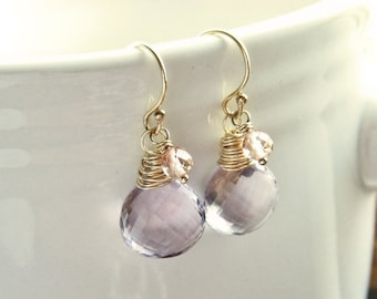 Sale - Save 20% - Harmony - Micro Faceted Pink Amethyst and Oregon Sunstone 14k Gold Filled Minimalist Dangles