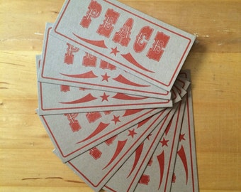 Red PEACE CARDS Hand Printed Letterpress from wood type - 8 pack christmas cards holidays love notes happy new year