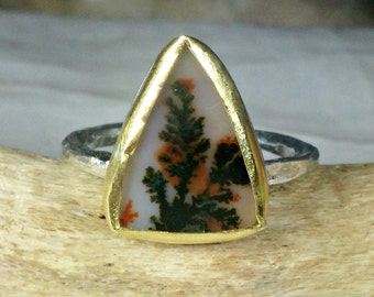 Dendritic Agate  ring ,  Silver, 22 kt yellow gold and agate Statement Ring, nature jewelry