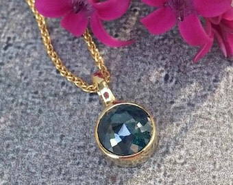 Diamond necklace, Blue diamond and 18 kt gold necklace, rose cut diamond pendant, everyday diamond necklace