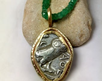 Ancient Greek Coin Pendant,  Athena owl ancient coin necklace , 14 kt solid gold and emerald strand , Ancient coin Jewelry