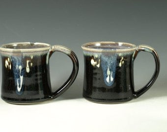 Pair of Small pottery Mugs (14oz) in tenmoku black glaze - great morning coffee mugs