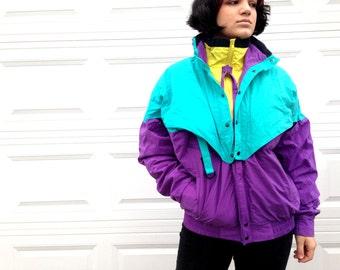1990's Women's Neon Winter Jacket in Large XL . Layered Coat Ski Snow . 90s Style Warm . Pockets Collar Zip Up Purple Blue Yellow Seafoam