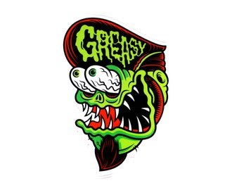 "Greasy Vinyl Sticker - 3.5"" Full Color Diecut Weatherproof Sticker Indoor/Outdoor"