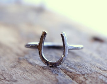 Sterling Silver Rustic horseshoe ring - Equestrian Jewelry - Good Luck Charm -midi rings