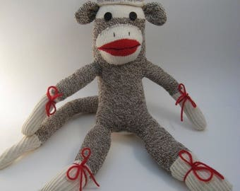 Traditional sock monkey made with vintage socks - MADE TO ORDER