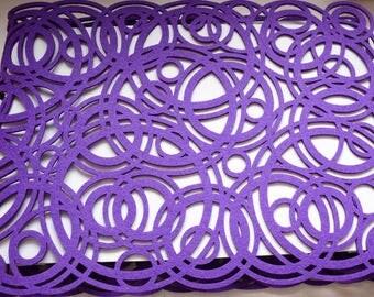 Purple geometric felt table runner