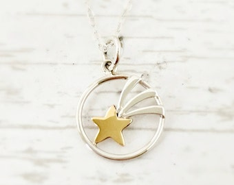 Shooting Star Necklace, sterling silver necklace, jewelry gift for her, gift for daughter, mixed metals, make a wish, for girl