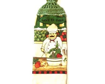 Love To Cook Chef Hand Towel With Tea Leaf Crocheted Top