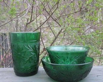 Three Piece Vintage Forest Green Glassware - Anchor Hocking Sandwich Glass - Tumbler/ Custard Cup/ Bowl