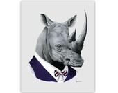 Rhino art print - Rhinoceros - Modern kid art - Animals in Clothes - Animal Art - Modern Decor - Ryan Berkley Illustration 11x14