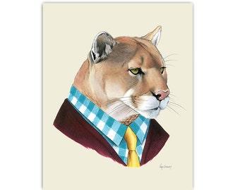 Mountain Lion art print by Ryan Berkley 5x7