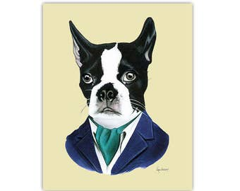 Boston Terrier Dog art print by Ryan Berkley 5x7