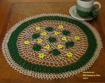 Green Shamrock Doily with Yellow Flowers - 3 Leaf Clover Shamrock Decor - Irish Crochet Lace Round Mat - Nature Inspired - Crochet Art