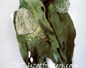 20% OFF - Khaki Green Nuno Felt Scarf with Vintage doilies Sustainable Fashion One of a Kind
