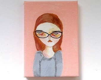 small painting,original painting, canvas painting, mini painting, small portrait, girls with glasses, with new glasses