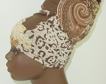 Natural Hair Accessories-HeadBand-HeadTube-Paisley-Animal Print-Brown Tan