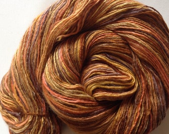 Handspun singles yarn 5.1ozs 600 yards sport/sock weight merino silk