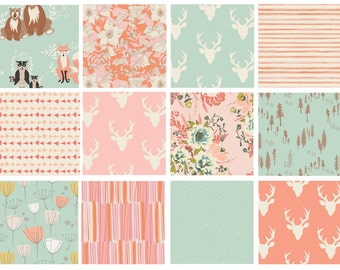 12 FABRIC QUILT BUNDLE - Hello, Bear - Cultivate - Forest Floor - Woodland Quilting Fabric - Deer Head Flowers Mint Pink Peach Nursery Girl