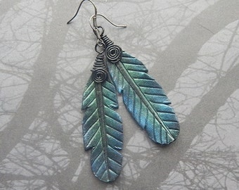 Iridescent Raven Feather Leather Earrings - Shimmering Crow Feathers and Oxidized Sterling Silver - Bird Watcher, Nature Lover, Boho, Witchy