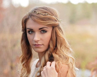 Elven Circlet - Elven Headpiece - Elven Crown - Lord of the Rings Hair - Bridal Headpiece - gold circlet - woodland halo - rustic crown