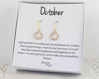 October Birthstone White Opal Gold Framed Dangle Earrings, Square Gold Earrings, White Gold Earrings, October Birthstone Earrings #807