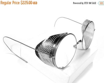 Steampunk Goggles Vintage AMERICAN OPTICAL Steam Punk Glasses PERFORATED Metal Side Shields Burning Man Goggles - Steampunk by edmdesigns