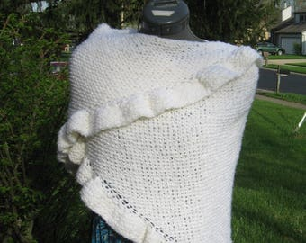 White Handknit Triangle Shawl with Ruffled Edge