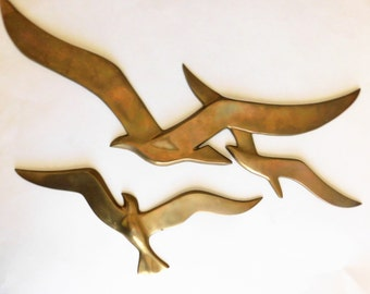 VINTAGE Brass Seagull Wall ART