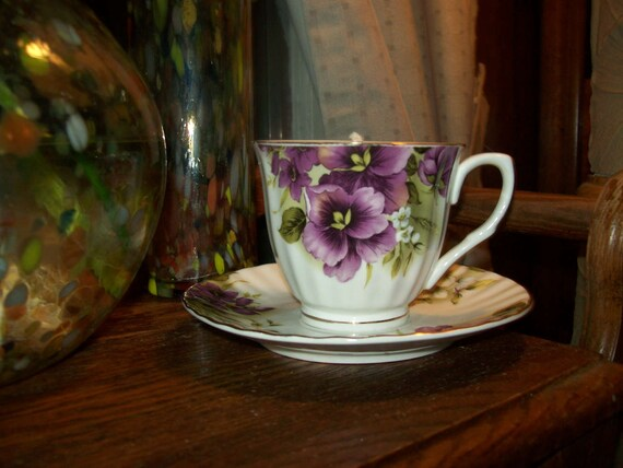 Candle Tea Cup and Saucer, honeysuckle scented and floral scented candle, vintage cup & saucer painted  w/violets, scented decor, home decor
