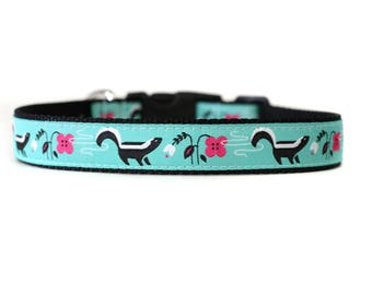 1 Inch Wide Dog Collar with Adjustable Buckle or Martingale in Skunked