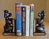 Vintage ceramic dog bookends with pen holder or bud vase, 1950s poodle figurines