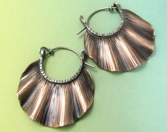 Small Copper Hoop Earrings, Metalsmith Earrings, Ruffle Earrings, Mixed Metal Earrings, Contemporary Two Tone Earrings, Metalwork Earrings