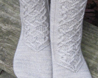 hand knit gray wool cable socks