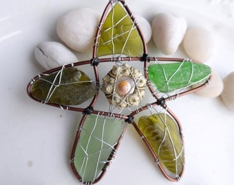 Green Sea Urchin and Sealgass Star Suncatcher Ornament
