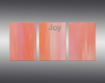 Joy - Original Abstract Painting, Modern Contemporary Art, Triptych, Canvas Wall Art, Pink and Orange Painting