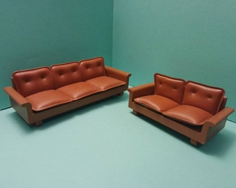 Lundby Brasilia Brown Lounge Sofa Set 1:16 Scale